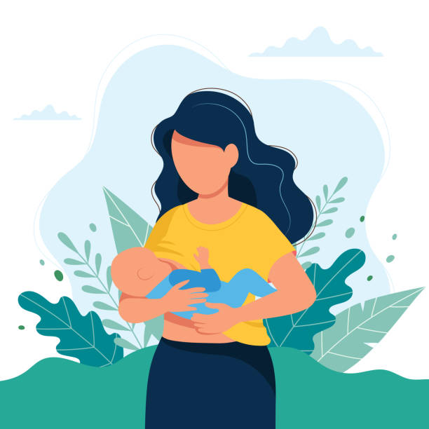 ilustrações de stock, clip art, desenhos animados e ícones de breastfeeding illustration, mother feeding a baby with breast on natural background. concept illustration - breastfeeding