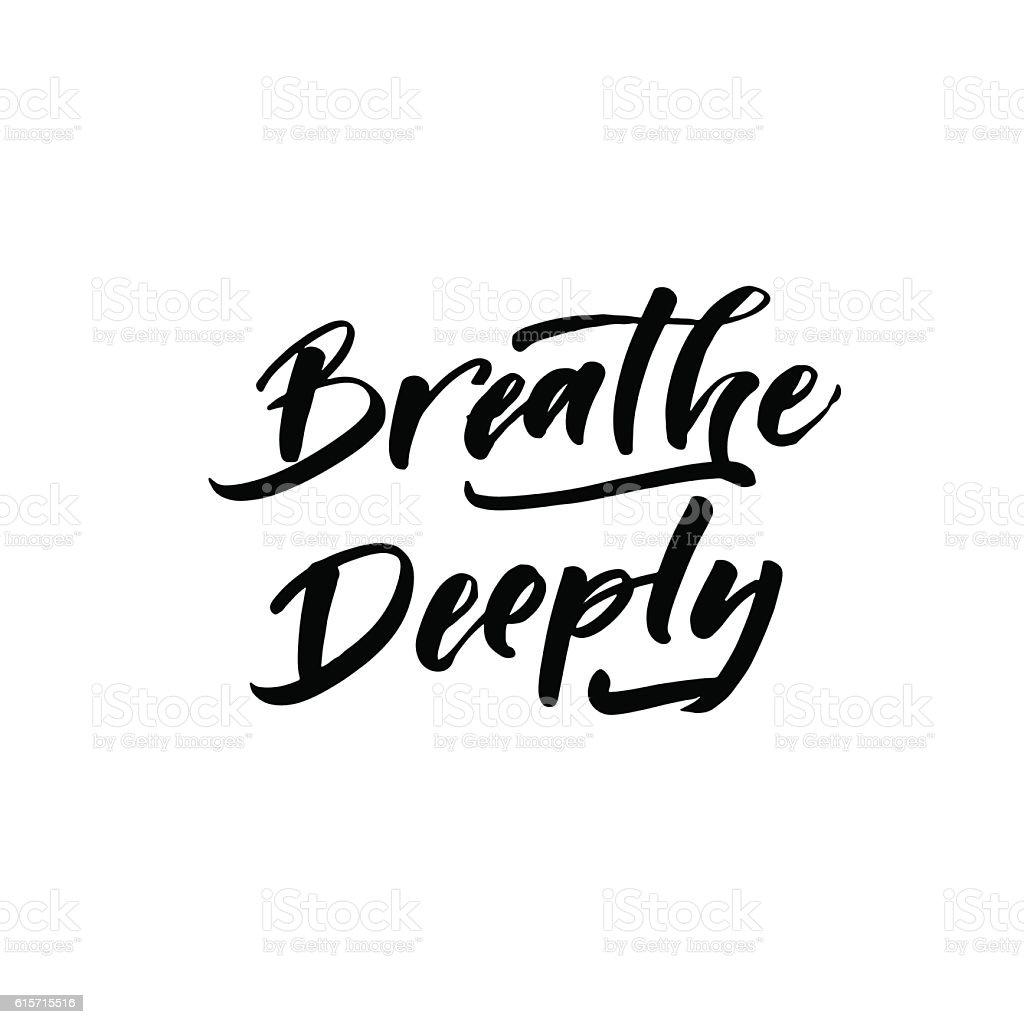 Breathe deeply card. vector art illustration