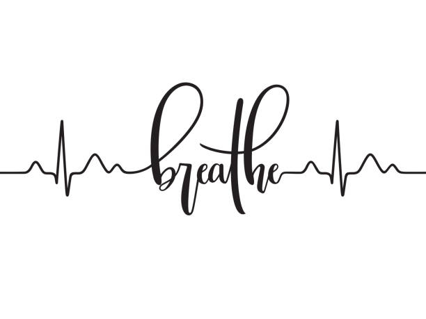 Breathe typography with cardiogram line Cardiogram line forming word Breathe. Modern calligraphy, hand written inhaling stock illustrations