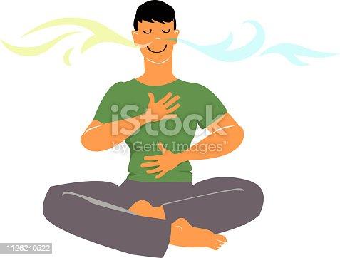 Man practicing breathing exercises, EPS 8 vector cartoon