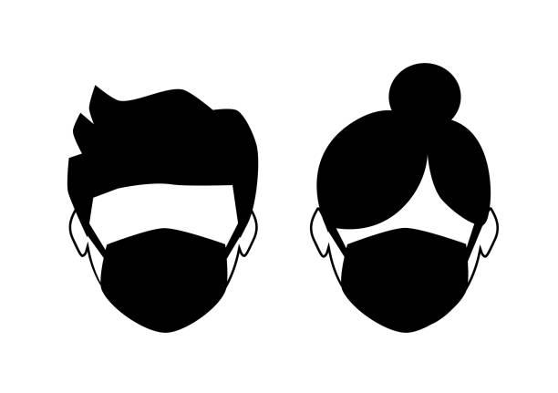 breathing mask on face, dust mask icon, flat vector illustration vector art illustration
