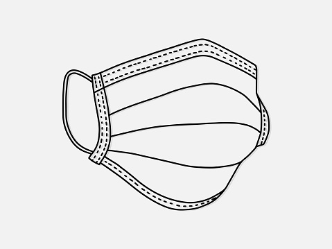 breathing medical respiratory mask. Hospital or pollution protect face masking. doodle style illustration.
