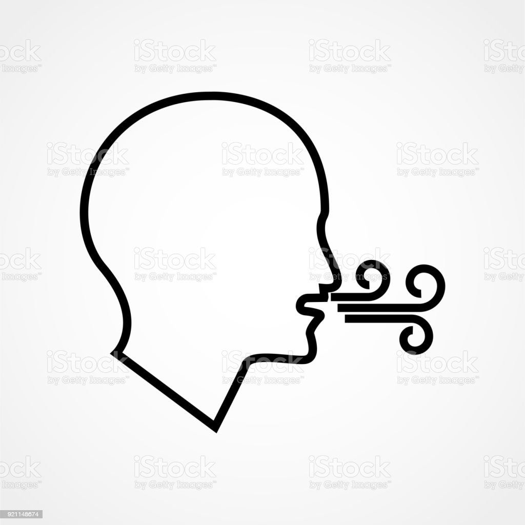 Breathing vector icon. Having breath difficulties. Health Care: checking breath or suffering respiration problems. Isolated modern icon vector art illustration
