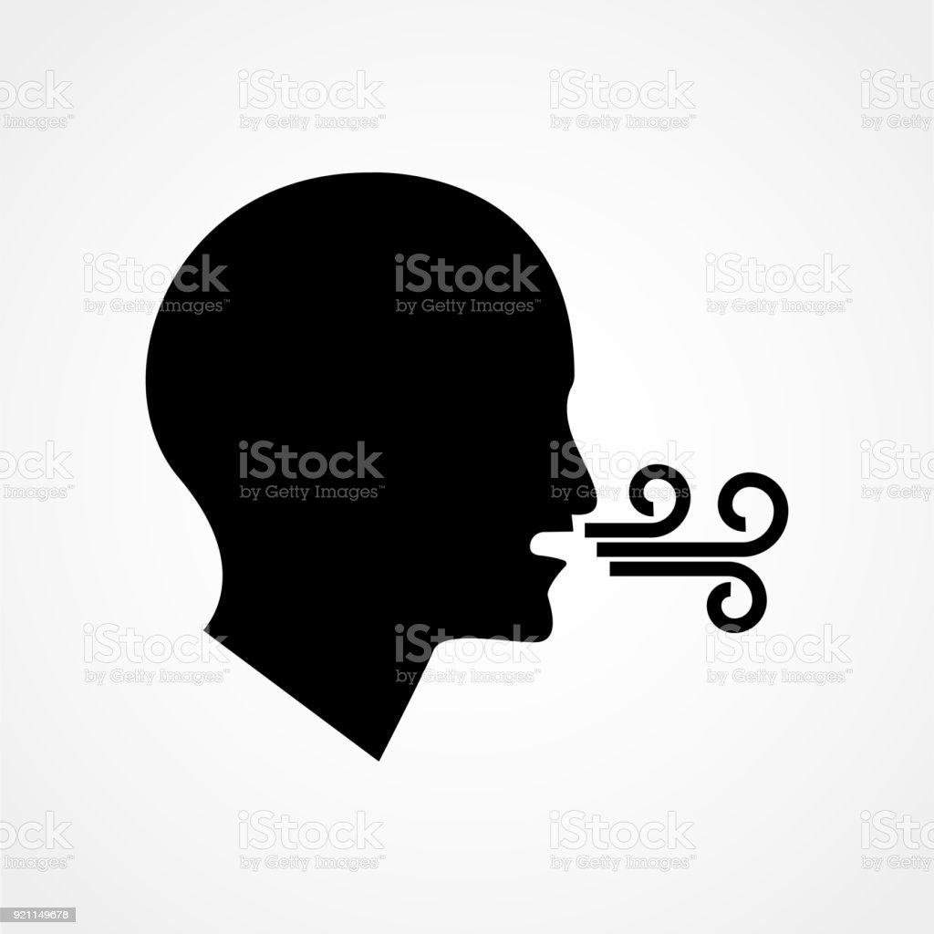 Atmung Vektor Icon Atemschwierigkeiten Gesundheitswesen Atem ...