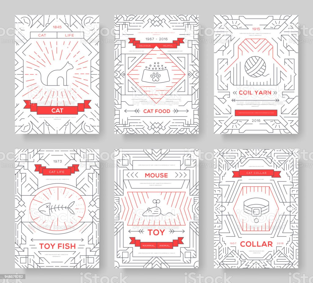 Breed Cats Thin Line Brochure Cards Set Animal Traditional Template