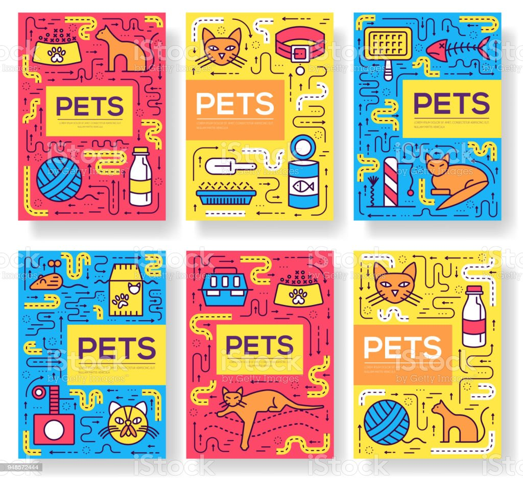Breed cats vector brochure cards thin line set. Cute animal template of flyear, magazines, posters, book cover, banners. Layout different kitten outline illustrations modern pages vector art illustration