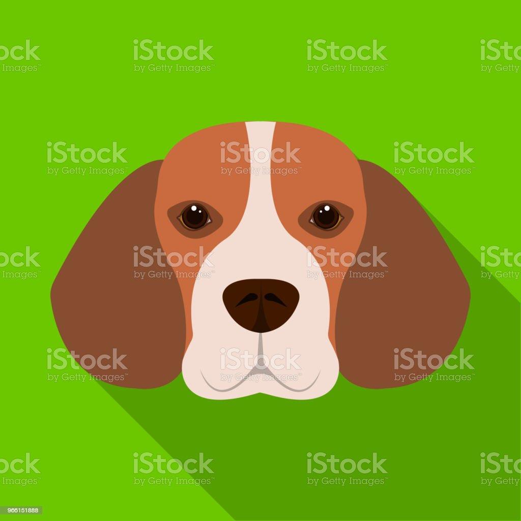 Ras hund beagle... Munkorg beagle enda ikon i platt stil vektor symbol stock illustration web. - Royaltyfri Beagle vektorgrafik