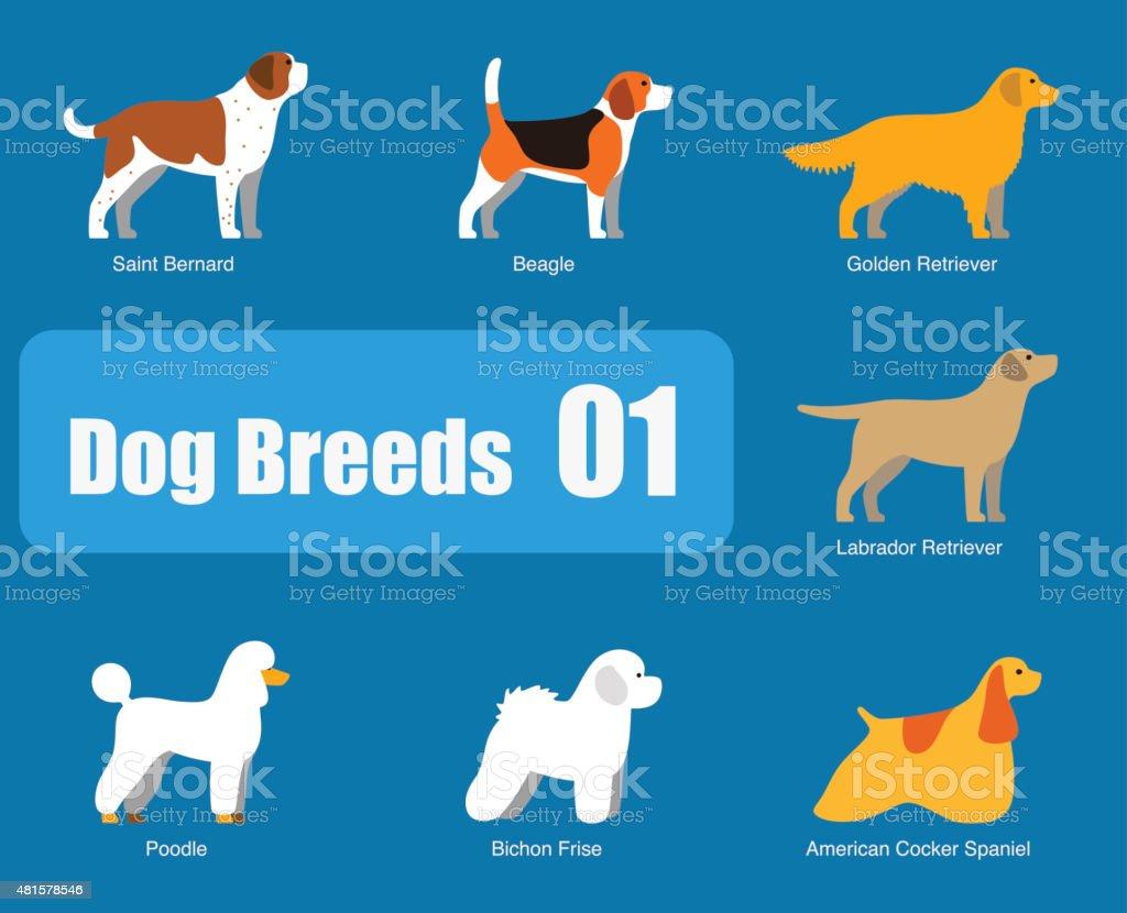 Razas de perros standing lado, vector - ilustración de arte vectorial