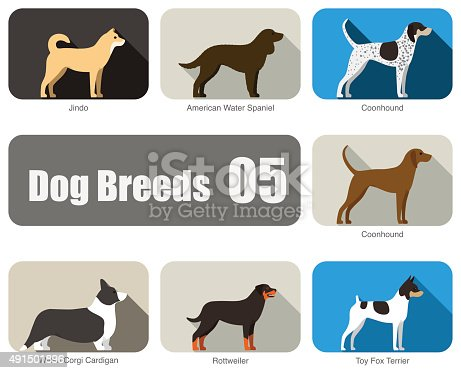 Dog breeds,  standing on the ground, side,colors, vector illustration, dog cartoon image series