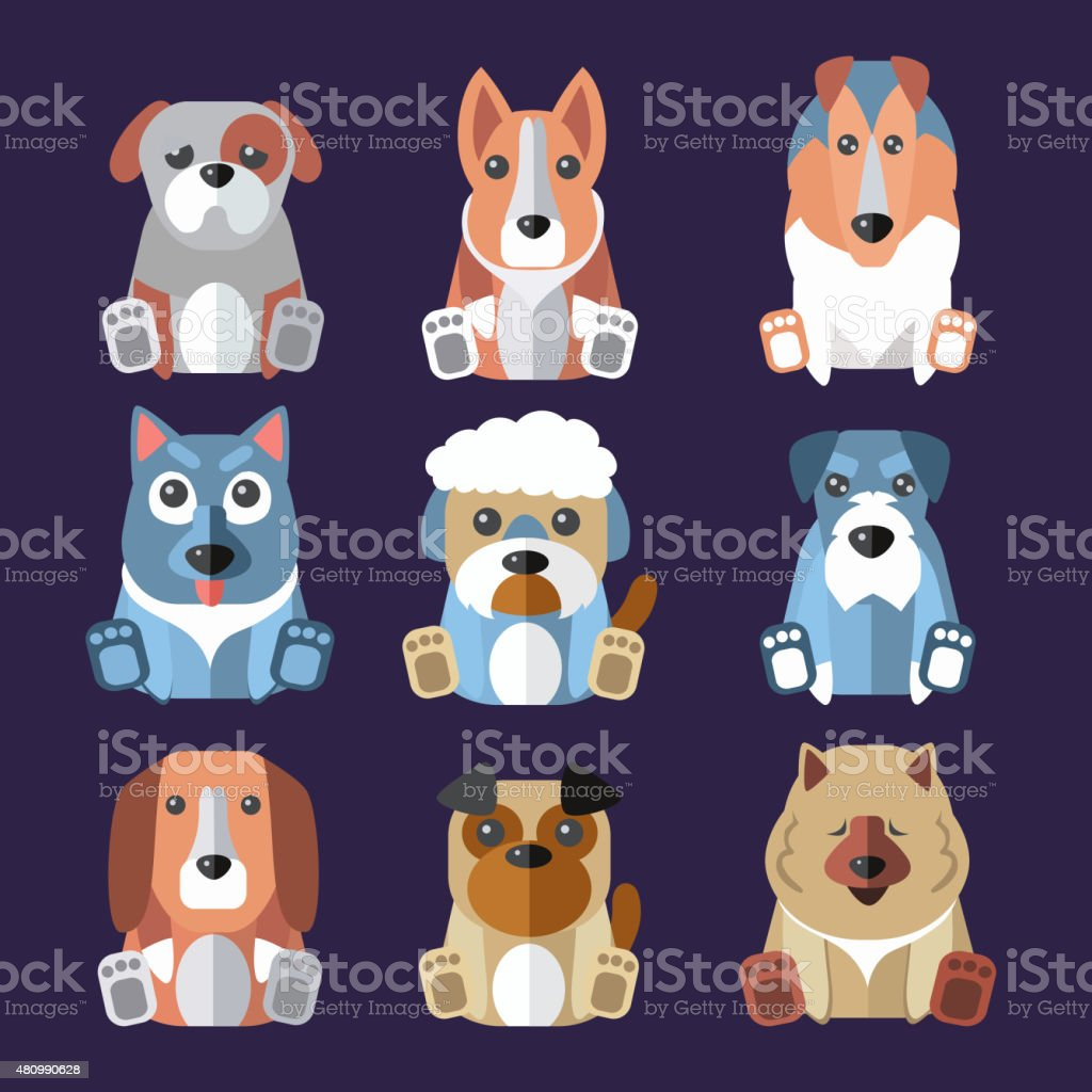 Breeds of Dogs Icons. Vector Illustration vector art illustration