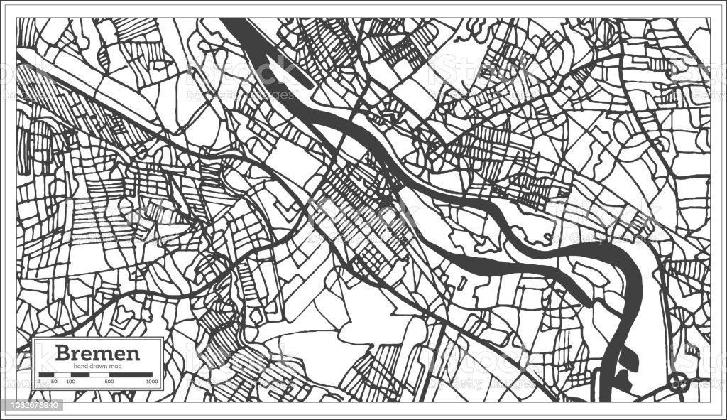 Bremen Germany City Map In Retro Style Outline Map Stock ...