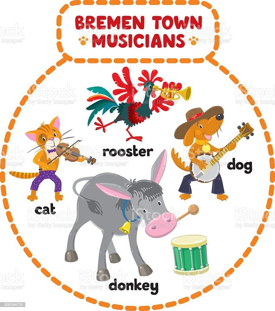 Bremen Town Musicians cartoon set vector art illustration
