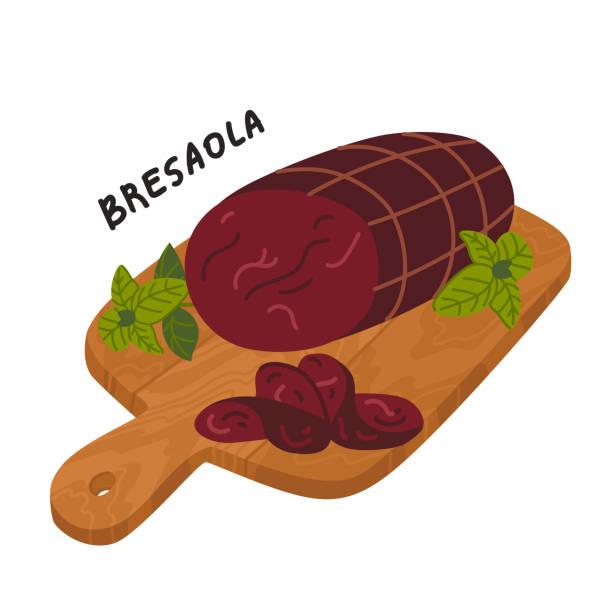 illustrazioni stock, clip art, cartoni animati e icone di tendenza di bresaola. meat delicatessen on a wooden cutting board - bresaola