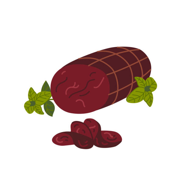 illustrazioni stock, clip art, cartoni animati e icone di tendenza di bresaola. meat delicatessen on white background. slices of italian air-dried salted beef. simple flat style vector illustration - bresaola