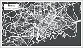 Brest France City Map in Retro Style. Outline Map.