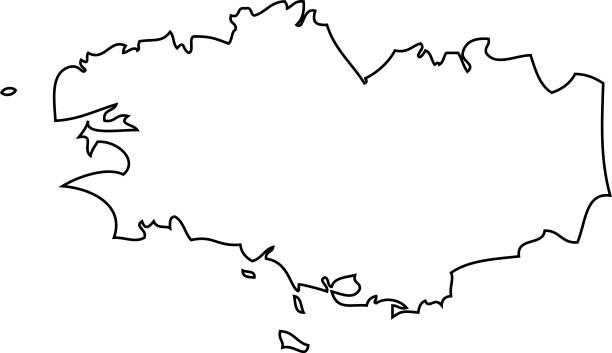illustrations, cliparts, dessins animés et icônes de bretagne. carte de la région de france - bretagne