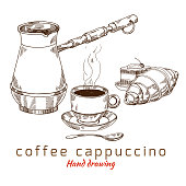 Brew coffee, vector hand drawing