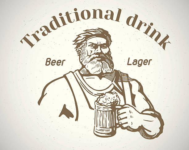 brewer and of beer. - old man clipart stock illustrations, clip art, cartoons, & icons