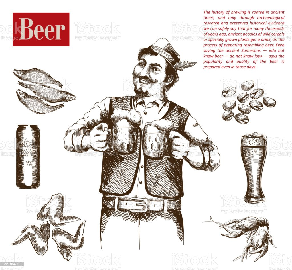brewer with two mugs of beer vector art illustration