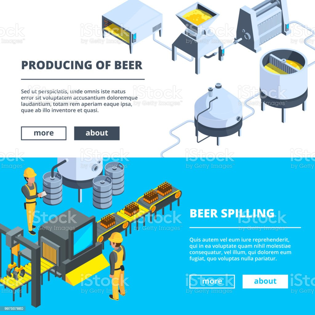 Brewery banners. Vector isometric illustrations of beer production vector art illustration