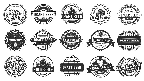 Brewery beer badges. Craft beers emblems, hop lager and pub hops badge isolated vector illustration set