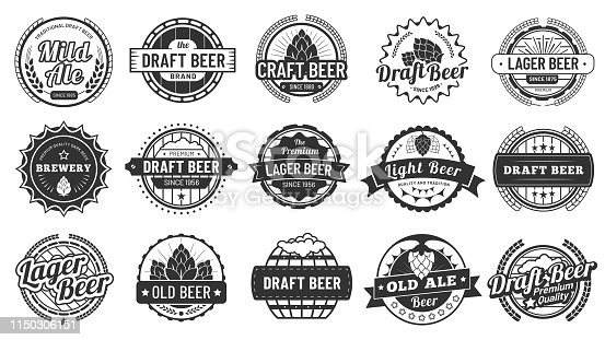Brewery beer badges. Craft beers emblems, hop lager and pub hops badge. Alcohol jars labels stamp, octoberfest beer brand icontype or black bar sticker. Isolated vector illustration signs set