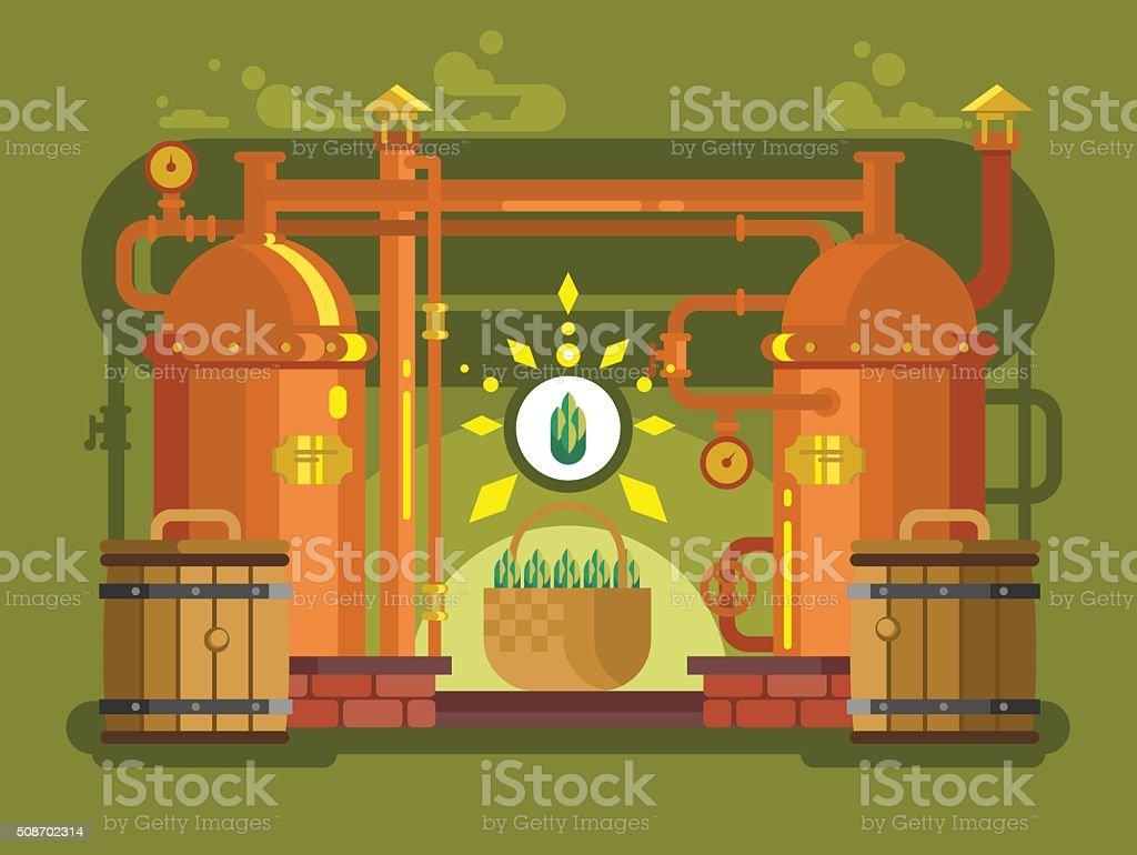 Brewery beer design flat vector art illustration