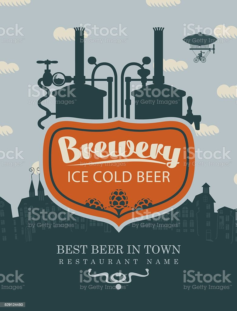 brewery beer in old town vector art illustration