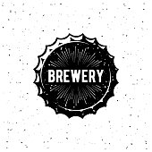 Brewery Vintage Emblem For Beer House, Brewing Company, Pub, Bar on The Bottle Cap. Vector Illustration