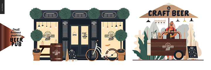 Brewery, craft beer pub - small business graphics - a bar facade and vending cart