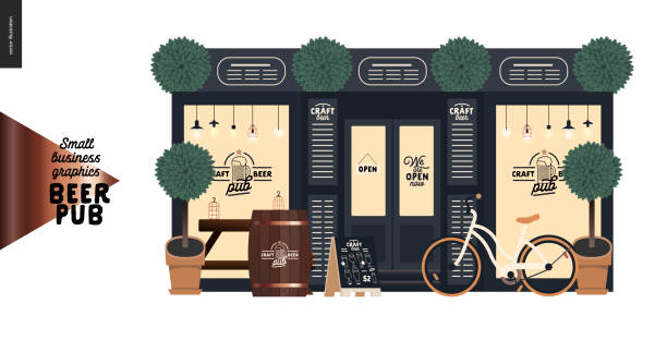 brewery, craft beer pub - small business graphics - a bar facade - small business stock illustrations