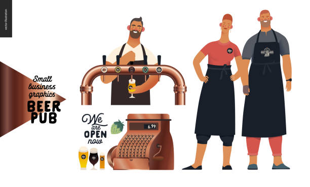 brewery, craft beer pub - small business graphics - bartender, pub owners - small business owner stock illustrations