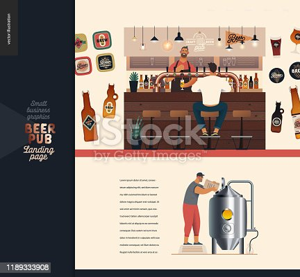istock Brewery, craft beer pub - small business illustrations -landing page design template 1189333908