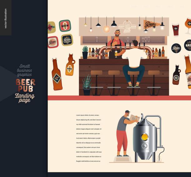 양조장, 공예 맥주 펍 - 소규모 비즈니스 일러스트 -방문 페이지 디자인 템플릿 - bartender stock illustrations