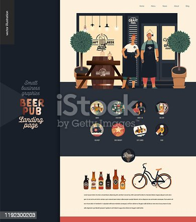 istock Brewery, craft beer pub - small business illustrations -landing page design template 1192300203