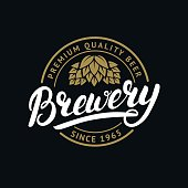 Brewery hand written lettering label, badge template with hop for beer house, bar, pub, brewing company,