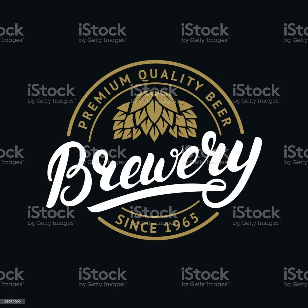 Brewery hand written lettering label, badge template with hop for beer house, bar, pub, brewing company, vector art illustration