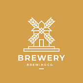 Brewery label. Great for beer, brewery, shop, home brew, tavern, bar, cafe and restaurant, beer house, pub, brewing company, tavern. Modern vector symbol