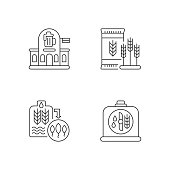 Brewery manufacture pixel perfect linear icons set. Pub establishment. Malted barley for production. Customizable thin line contour symbols. Isolated vector outline illustrations. Editable stroke