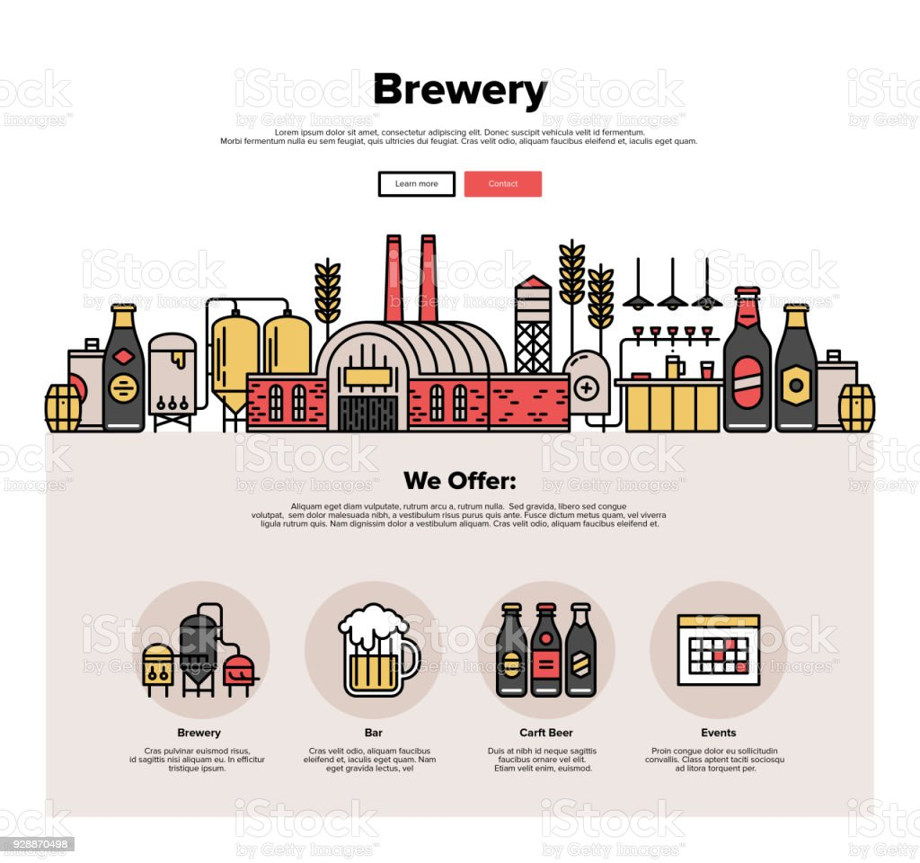Brewery production flat line web graphics vector art illustration