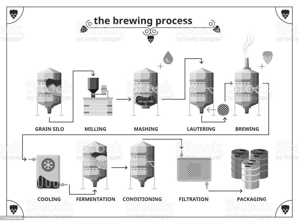Cervejaria processo de produção vetor infográficos modelo - ilustração de arte em vetor