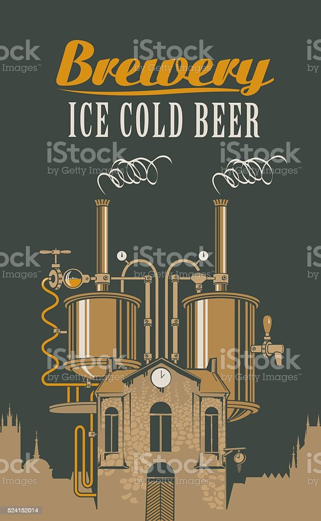 brewery with home with barrels on the roof vector art illustration