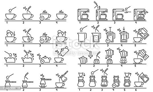 Brewing tea and coffee instruction. Preparing green tea bag, hot drinks guideline and coffee machine tutorial. Beverage preparation step instructional guide. Isolated vector illustration set
