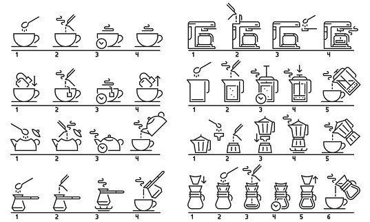 Brewing tea and coffee instruction. Preparing green tea bag, hot drinks guideline and coffee machine tutorial vector illustration set