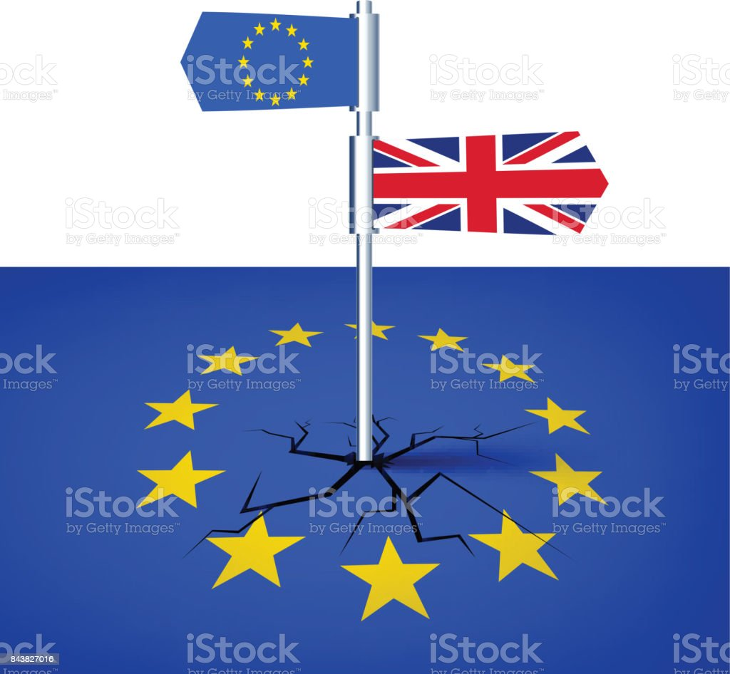 Brexit background with flags. vector art illustration
