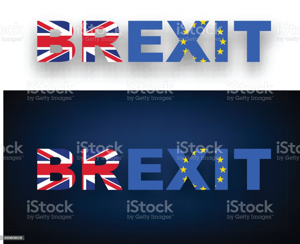 Brexit banner with flags. vector art illustration