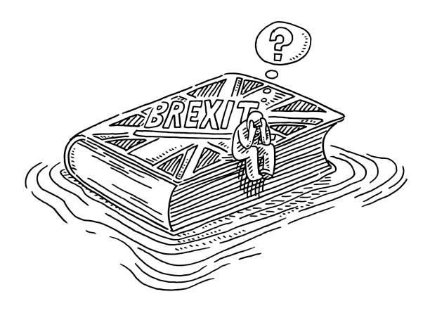 Brexit Book Floating In Water Uncertainty Concept Drawing Hand-drawn vector drawing of a Brexit Book Floating In Water, a desperate Human Figure is sitting on the book with it's head in hands, Uncertainty Concept. Black-and-White sketch on a transparent background (.eps-file). Included files are EPS (v10) and Hi-Res JPG. cartoon character figure stock illustrations