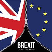 Brexit concept. British flag. EU flag. EU referendum.