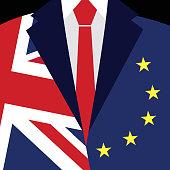 Brexit concept. British flag, EU flag. EU referendum. Vector.