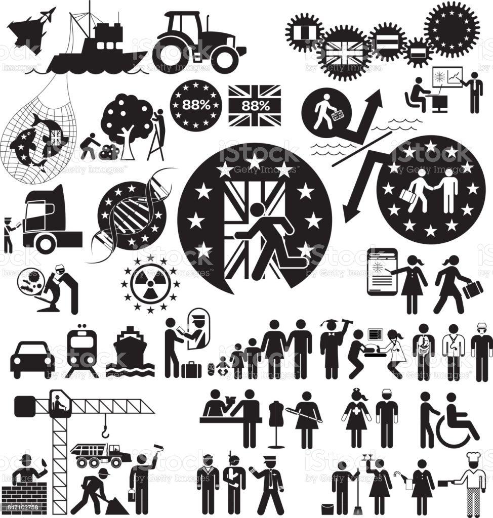 Brexit Icon Set - ilustração de arte em vetor